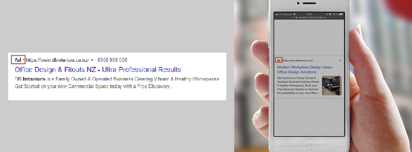 Google text ads on desktop and mobile