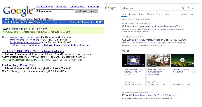 Google Search Results 2003 vs 2020