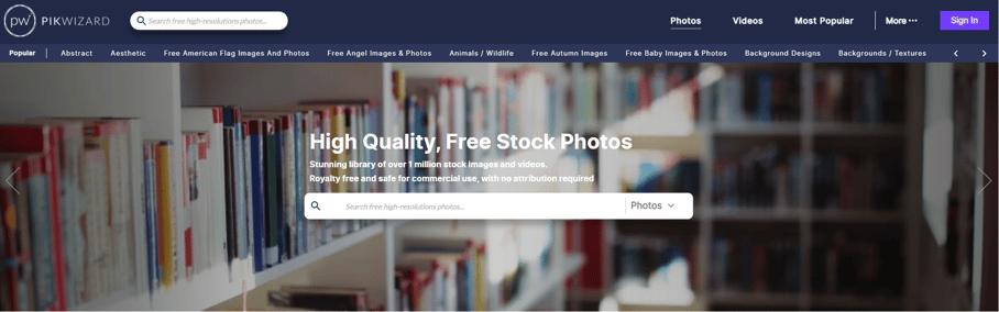 Pikwizard website for stock images