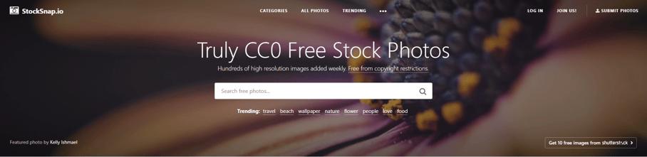 Stocksnap.io homepage free images