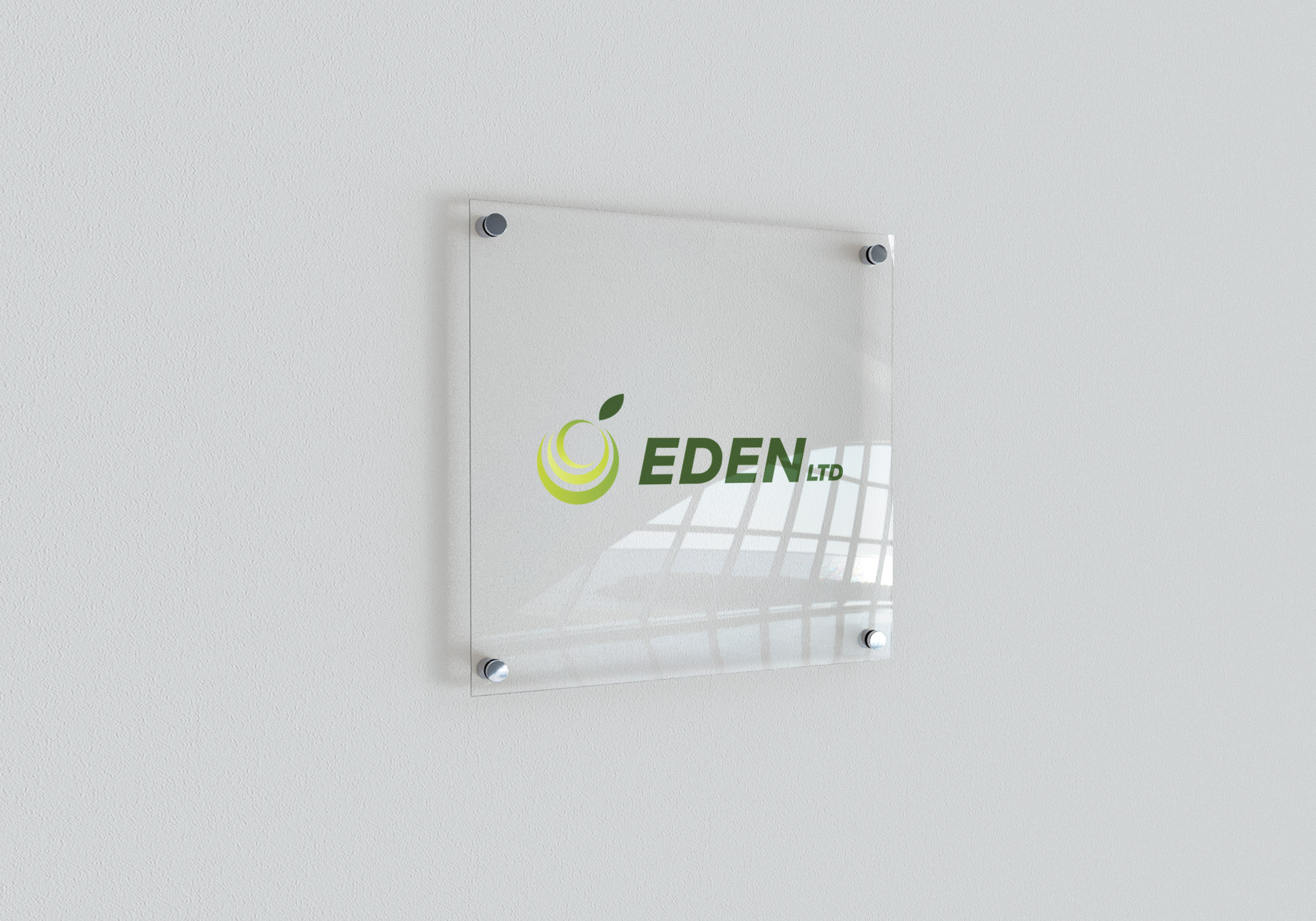 Indoor Signage Mockup clear wall plate EDEN